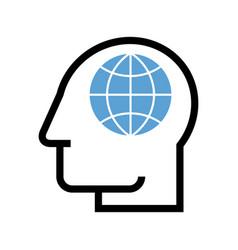 man with globe global symbol vector image