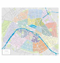 map of paris france vector image vector image