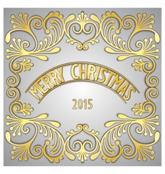 Merry Christmas 3D golden signboard vector