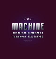Metal chrome narrow sans serif font vector