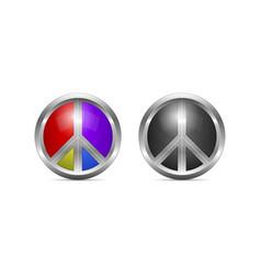 metallic peace symbol design as 3d shaped vector image