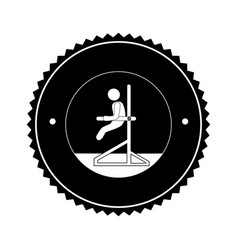 Monochrome circular frame with gymnast vector