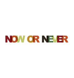 now or never phrase overlap color no transparency vector image