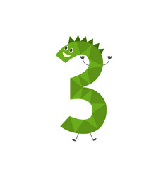 number three funny cartoon character isolated on vector image