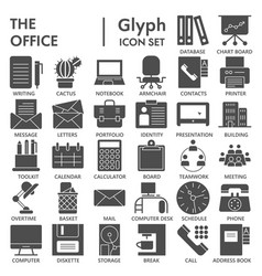 office glyph signed icon set work symbols vector image