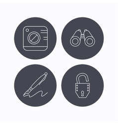 Photo open lock and search icons vector image