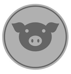 pig head silver coin vector image