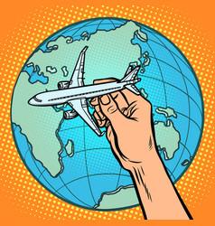 Plane in hand metaphor flight to eastern vector