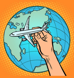 plane in hand metaphor of flight to the eastern vector image