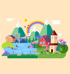 rustic countryside at spring village panorama vector image