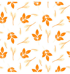 Rustic fall orange leaves seamless pattern vector