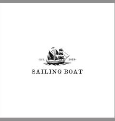 sailing boat logo design template vector image