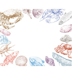 Seafood fish and crabs backgrounds vector