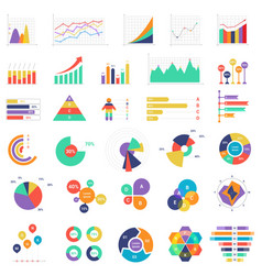 Set colorful graphs and diagrams vector