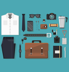 Set man every day carry and outfit accessories vector