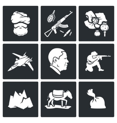 Set of Afghanistan Icons vector image