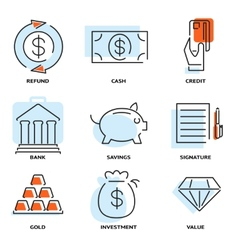 Set of money and value flat line icons vector image