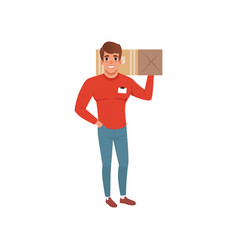 Smiling delivery man holding box on his shoulder vector