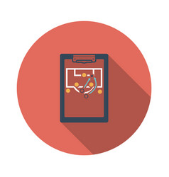 Soccer coach tablet with scheme of game icon vector