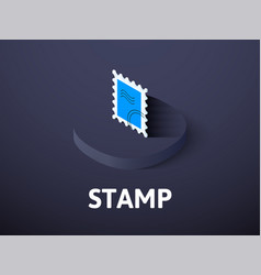 Stamp isometric icon isolated on color background vector