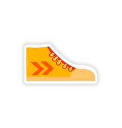 Stylish paper sticker on white background gumshoes vector