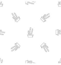 suculent cactus pot pattern seamless vector image