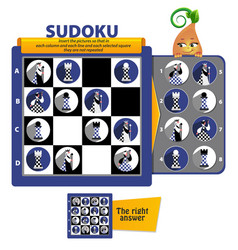 Sudoku game chess pieces vector