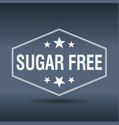 sugar free hexagonal white vintage retro style vector image