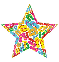 Summer flip flops star shape vector image