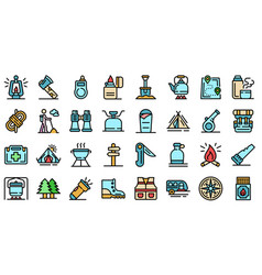 Survival icons set flat vector