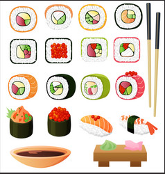 Sushi set with soy sauce and chopsticks vector