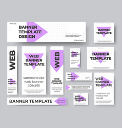 template geometric web banners with purple and vector image