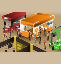 The scene at an exhibition booths vector