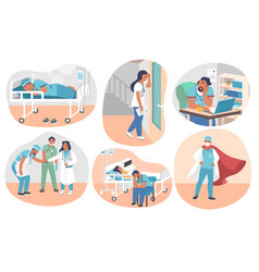 tired overworked doctors flat isolated vector image