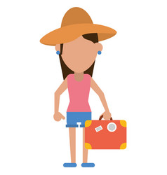 traveler woman hat suitcase vector image