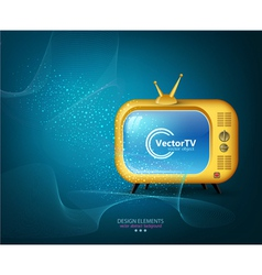 Tv yellow on a blue background vector