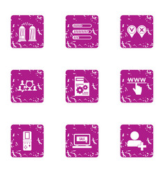 Understanding of the technology icons set grunge vector