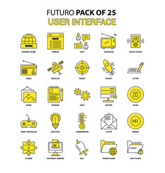 User interface icon set yellow futuro latest vector