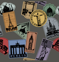 Vintage paper color landmarks travel labels vector