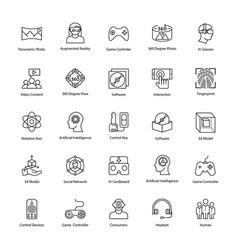 virtual reality line icons set vector image