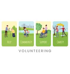volunteering flat banner templates set vector image