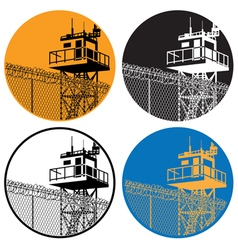 Watchtower and barbed wire vector