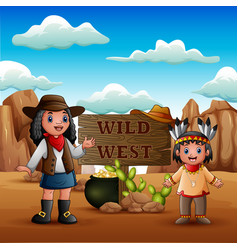 wild west with young african cowgirls and indian g vector image