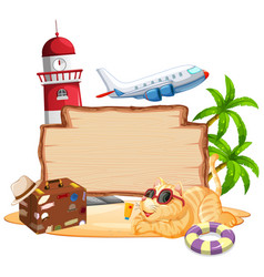 Wooden sign template with lighthouse and airplane vector