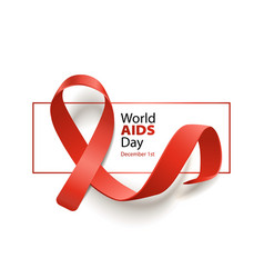 world aids day awareness banner with red ribbon vector image