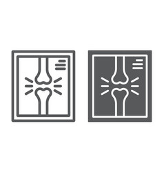 X-ray line and glyph icon medicine vector