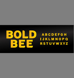 yellow bold bee font with capital letters set vector image