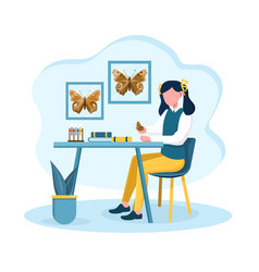 Young girl is fond entomology vector