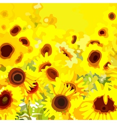 Background field with yellow flowers sunflower vector