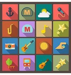 entertainment icons in flat design style vector image vector image